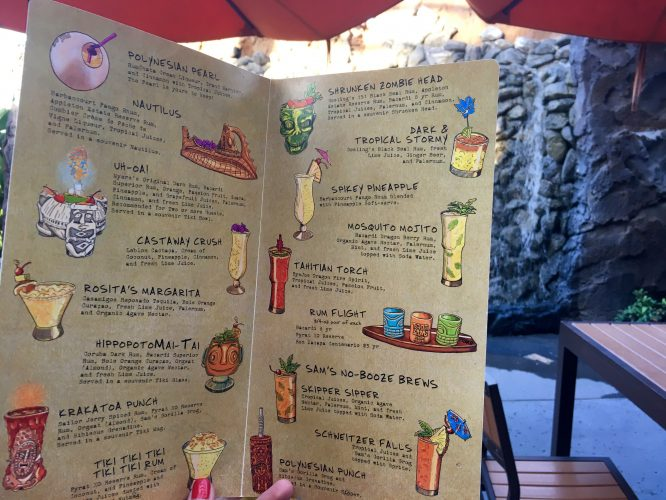 Trader Sam's Grotto Full Bar Menu at Disney's Polynesian Hotel and Resort