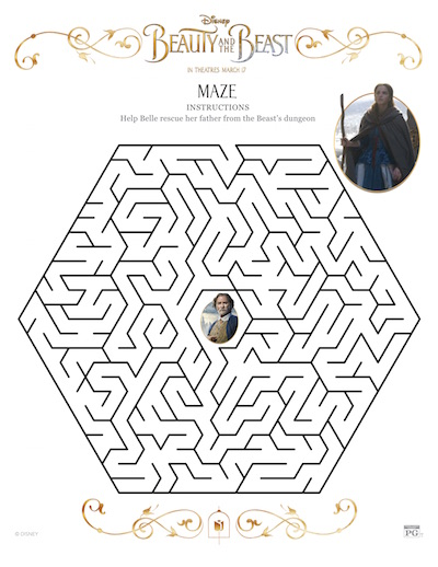 Beauty and the Beast Coloring Pages and Maze