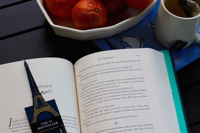 Make time for yourself to get lost in a book. My pick this month: The Nightingale by Kristin Hannah | Redheadbabymama.com Sponsored by SheSpeaks