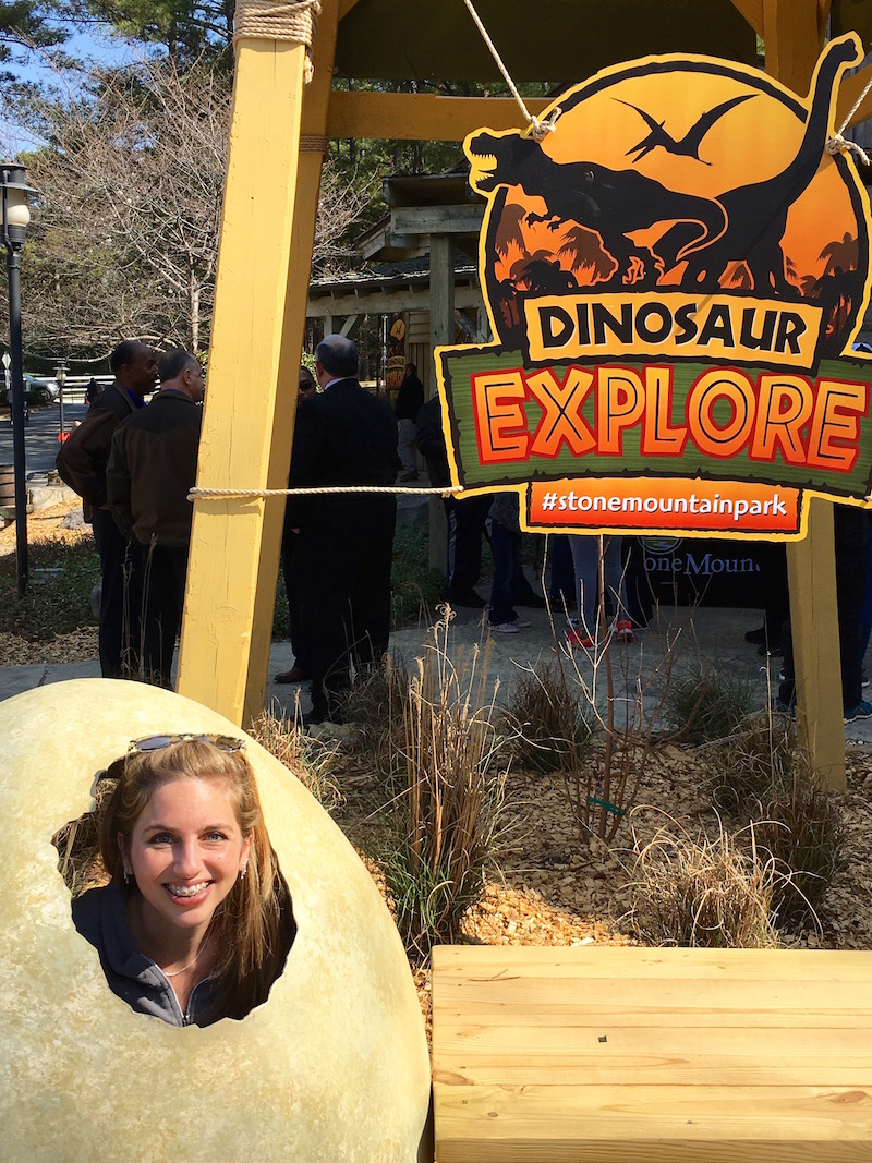 Stone Mountain's Great Barn has a fabulous Dinosaur Explore overlay with tons of chances to learn about dinosaurs and history!