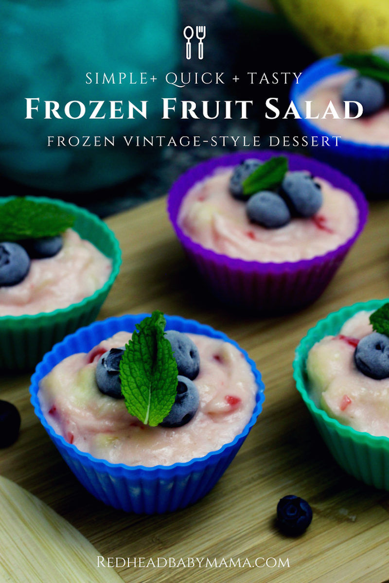 Frozen Fruit Salad Cups, a simple to make, vintage-style, frozen snack. Full recipe in post. #ad #StoredBrilliantly