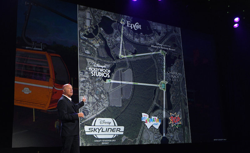 Walt Disney World Skyliner Gondolas for Transportation MAP shows Epcot and Hollywood Studios connecting