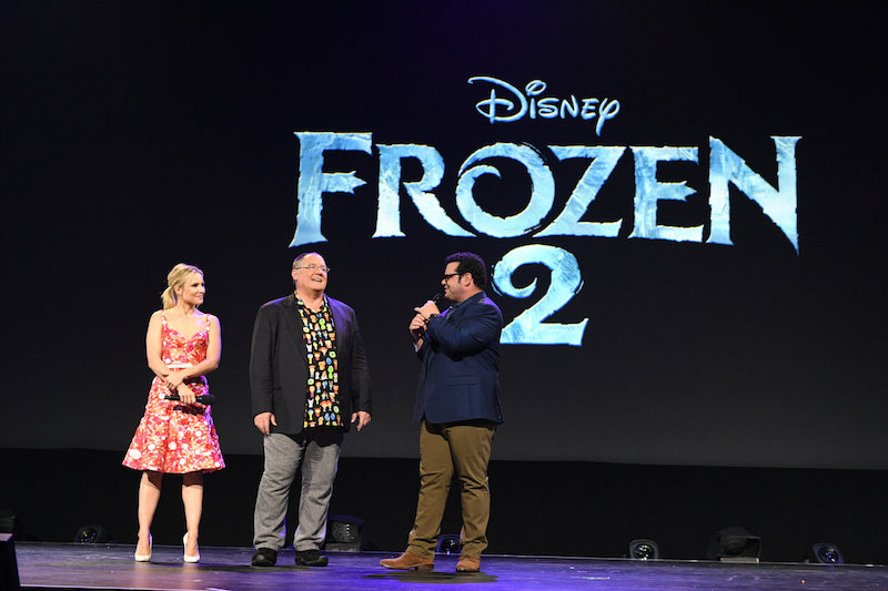 Josh Gad sang live for a promo of Olaf's Frozen Adventure and as John Lassiter spoke of Frozen 2.
