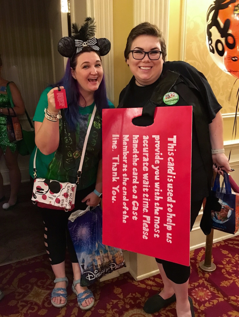 Red Attraction Wait Time Card Costume at Mickey's Not So Scary Halloween Party