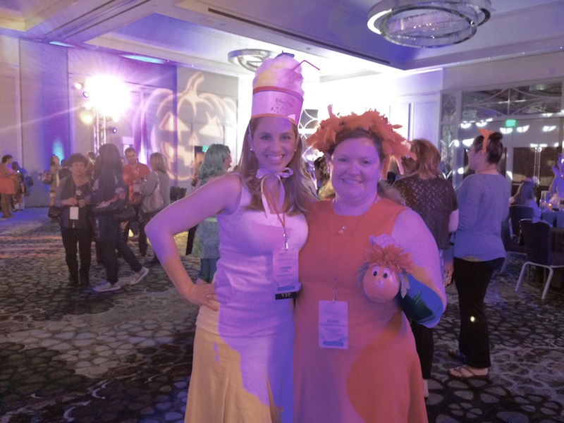 Dole Whip Costume Hat, posing with Orange Bird