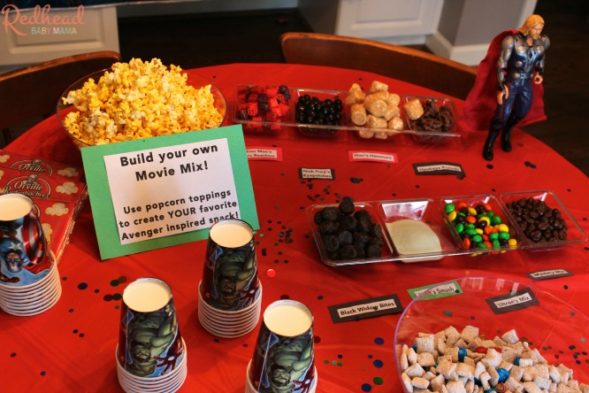Avengers Party Popcorn Bar