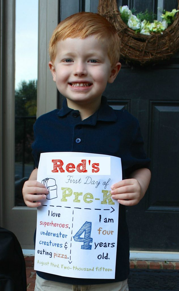 back to school sign for pre-K