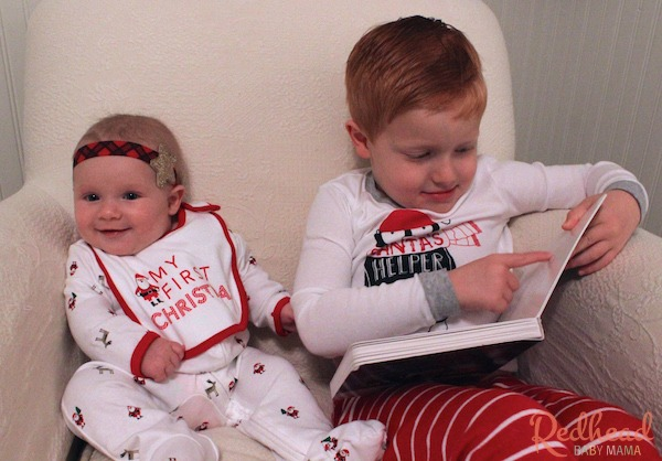Christmas story time is always more fun with coordinating pajamas from Carter's!