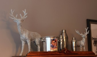 crystal reindeer dining room tablescape for the holidays
