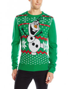 printed ugly christmas sweater with olaf