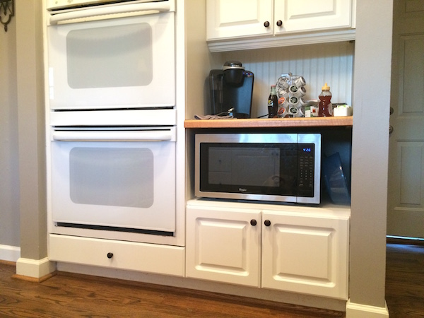 coffee bar and double ovens BEFORE kitchen makeover