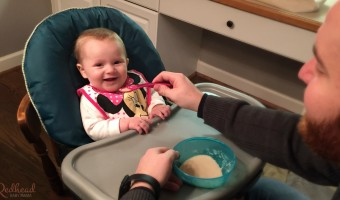 Scarlett's first feeding! For Baby's First food, we chose oatmeal and breastmilk for a familiar flavor.