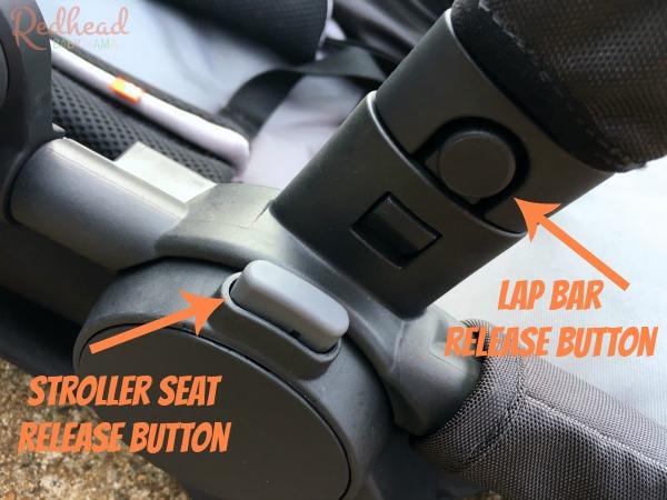 GB LYFE stroller seat button