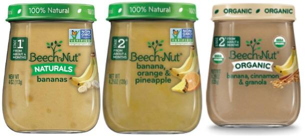 beech-nut banana baby food varieties in organic and natural.