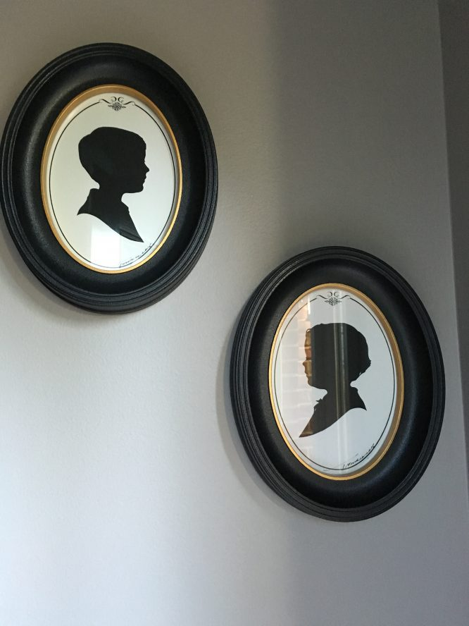 Old Fashioned Children's Silhouettes in frames - the best $9 souvenir I ever bought at Disney!