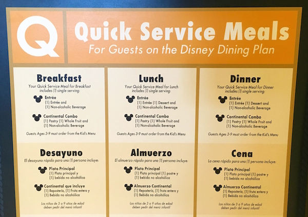 The Quick Service Meal breakdown for The Beach Club Resort at Walt Disney World