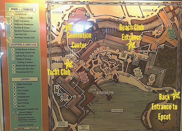 Walt Disney World's Beach Club Resort and Yacht Club Area Map, close to Epcot, Boardwalk and Hollywood Studios
