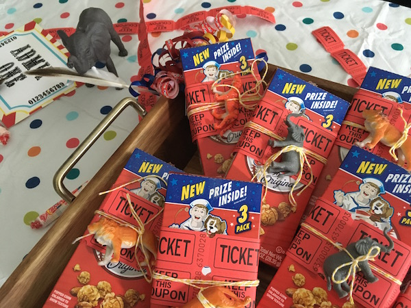 Circus party favors with cracker jack and tickets