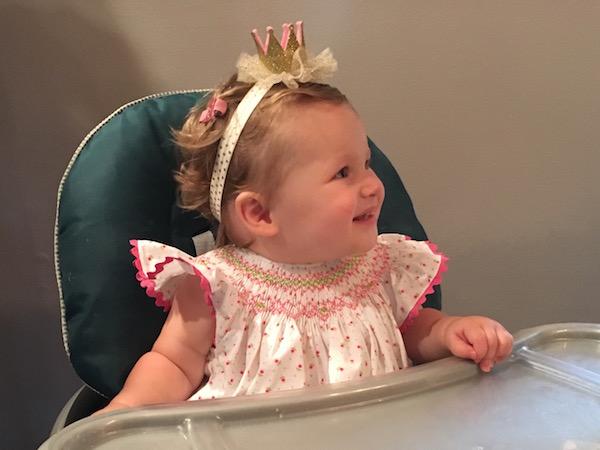 Scarlett's first birthday with crown