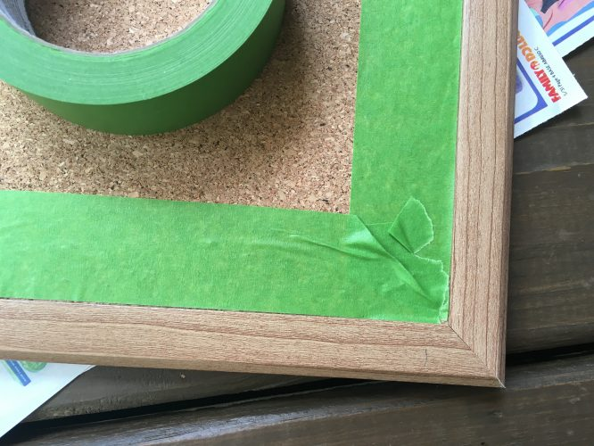 frog tape the board so you can paint the frame. Real frog tape actually makes a seal. #notanad, I just love it!