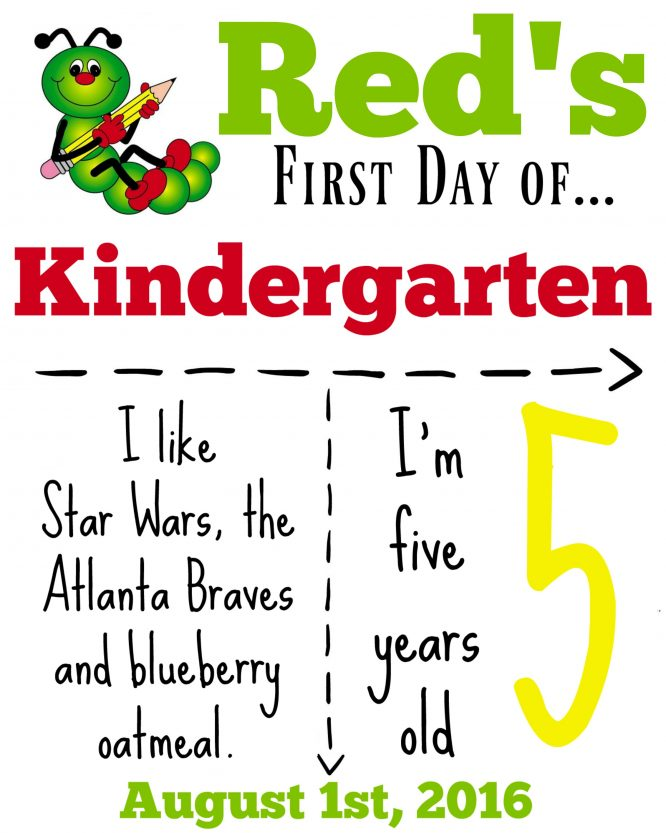 Here's our kindergarten sign. What does you back to school sign say?