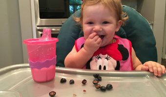 Baby and blueberries; baby led weaning
