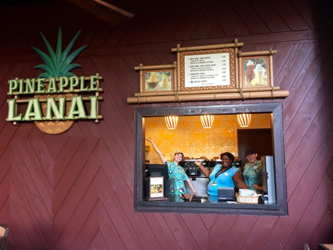 Pineapple Lanai at Disney's Polynesian Hotel; Walk out the back of the main building to the patio, and you'll find all the Dole Whips you can eat!