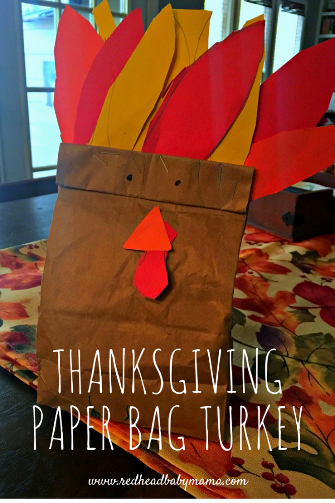 Thanksgiving Paper Bag Turkey Craft for a quick centerpiece for your fall tablescape! Great for preschool crafts