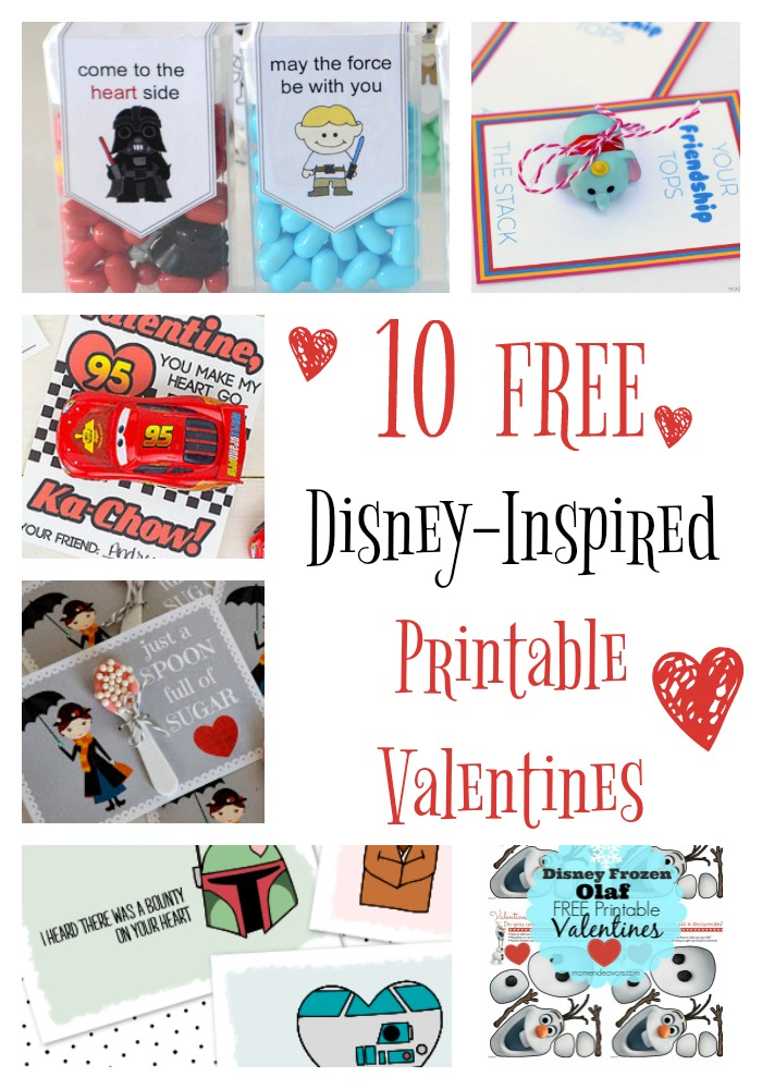 image relating to Free Printable Valentines referred to as 10 No cost Disney Encouraged Printable Valentines - Redhead Kid