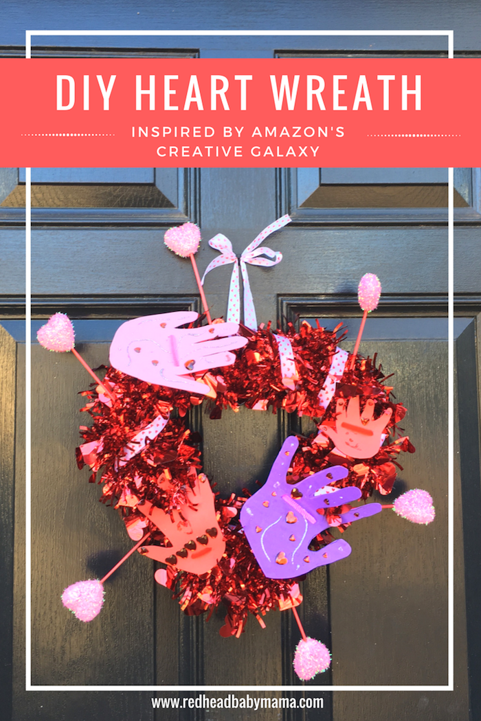 Creative Galaxy Heart Day Hug Wreath inspired by Amazon's Creative Galaxy | Redheadbabymama.com