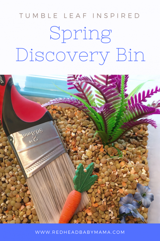 Amazon's Tumble Leaf Inspired Craft: Spring Discovery Sensory Bin | Redheadbabymama.com