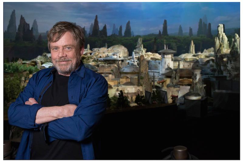 Mark Hamil poses with Walt Disney Parks' new Galaxy's Edge land coming to both US coasts