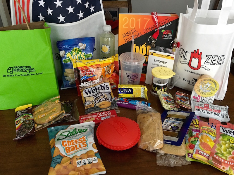 Tons of samples from the SNA Expo 2017. These are all used on school lunch trays around the country.