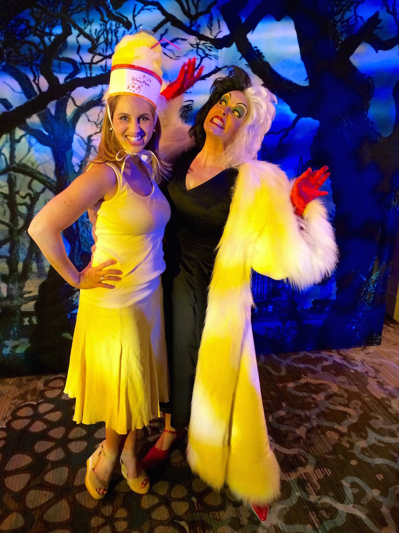 Dole Whip Costume Hat, posing with Cruella at Mickey's Not So Scary Halloween Party
