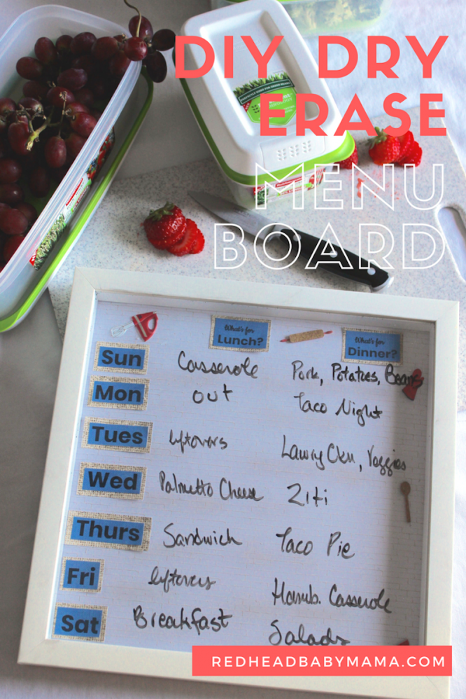 DIY Dry Erase Menu Board for Meal Planning and Keeping Food Fresh with Rubbermaid (ad) | Redheadbabymama.com