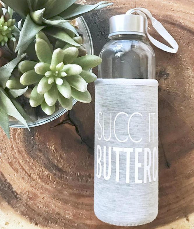 succ it up buttercup glass water bottle