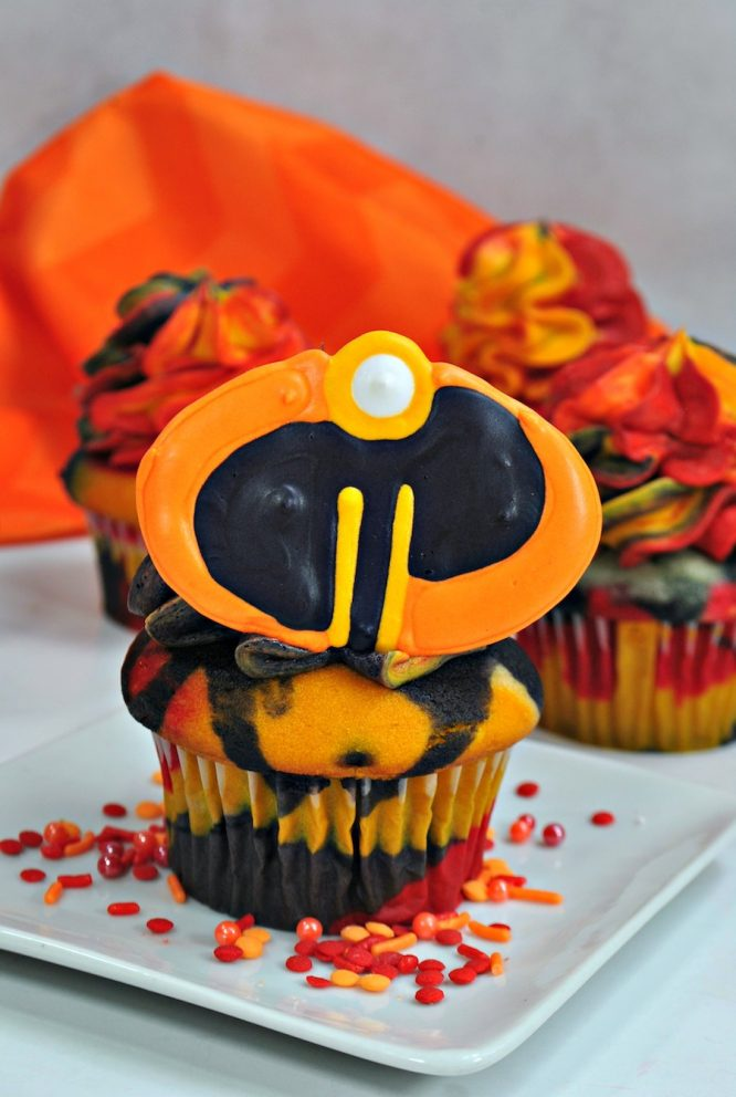 Incredibles Tricolor Cupcakes with chocolate symbol logo