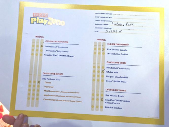 Disney Pixar Play Zone Kids Menu
