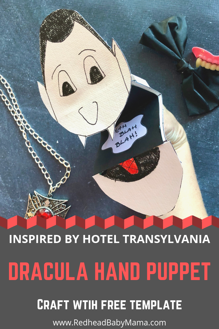 Make a Hotel Transylvania 3 Dracula Hand Puppet Craft with my template. Print on cardstock to make it sturdy. Decorate him to say