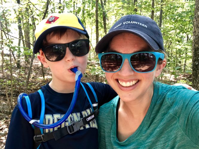 mother son cub scout camping