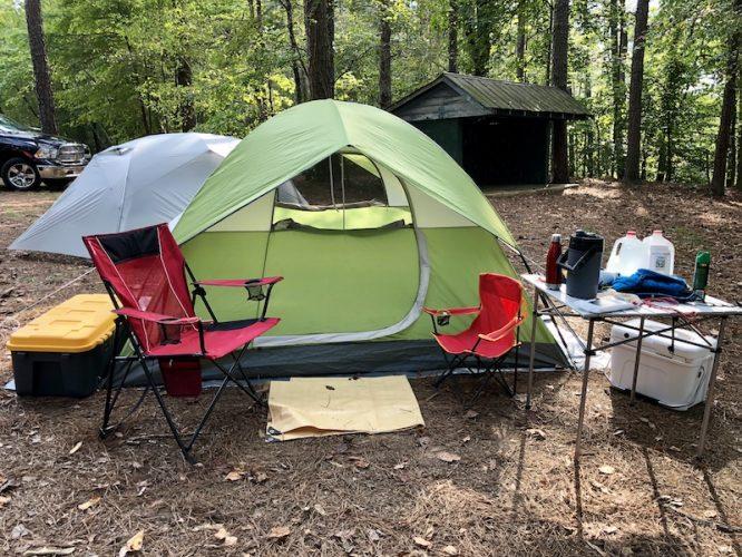 primitive camping site tent
