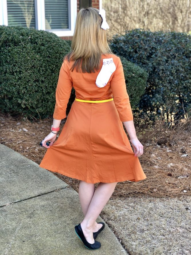 orange a-line flare dress for 2319 Disneybound George Sanderson