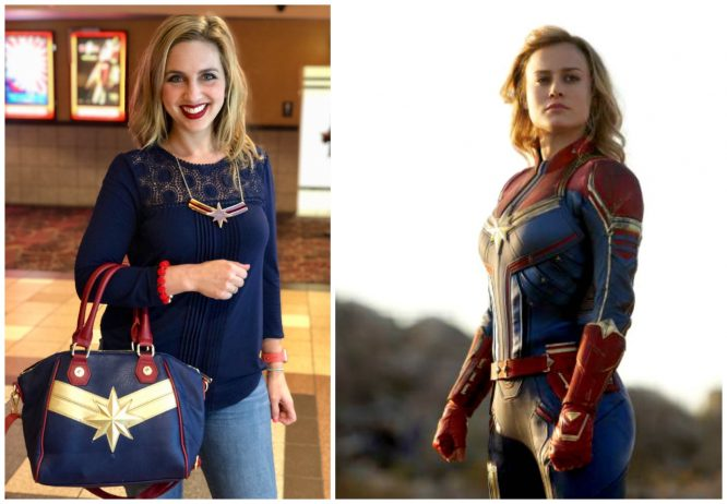 Captain Marvel Disney Bound side by side with accessories