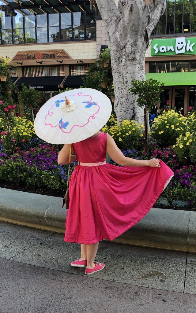 Pink Cinderella Dapper Day with hand painted Parasol