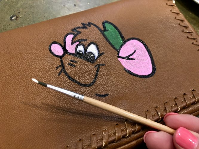 handpainted cinderella mouse Gus Gus on a brown leather purse
