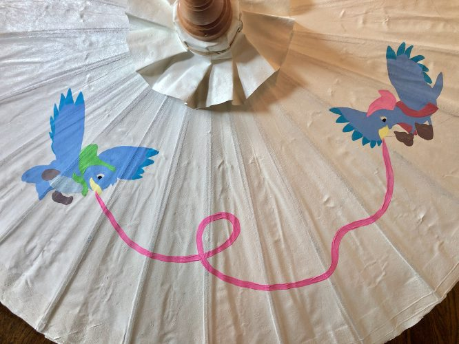 add color to your hand painted parasol with acrylic paint