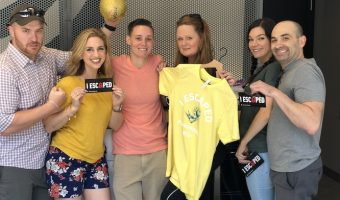 Atlanta Escape Game - we escaped the playground group shot with golden kickball