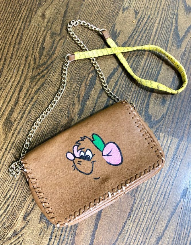 brown leather Hand painted Gus Gus Purse with measuring tape strap