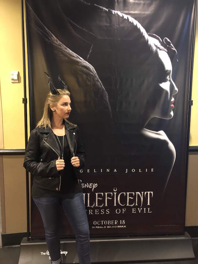 profile Maleficent Disneybound with leather jacket and 3d printed horns at the Mistress of Evil screening