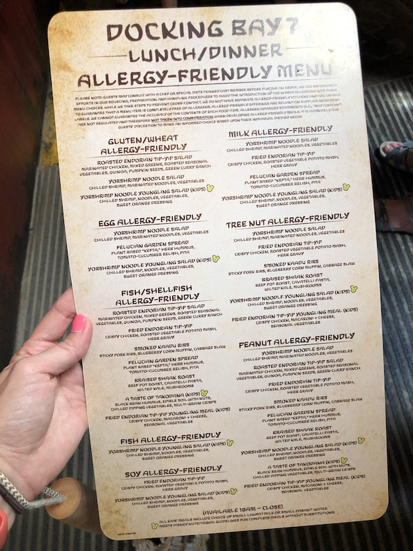 Full Menu for Docking Bay 7 Lunch Dinner Allergy Friendly